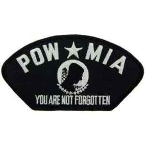 POW MIA Hat Patch Black & White 2 3/4 x 5 1/4 Patio