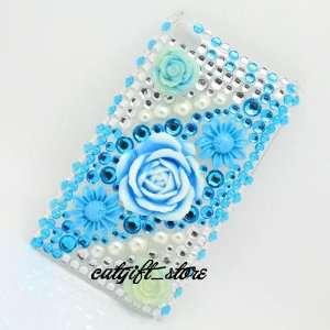 Bling Diamond Blue Flower Hard Case Cover Skin for Apple