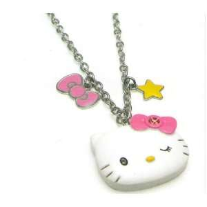 Hello Kitty Bow & Star Charm Necklace 16 18 Inch chain Toys & Games