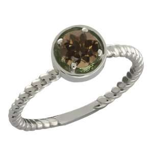 0.46 Ct Round Brown Smoky Quartz Sterling Silver Ring Jewelry