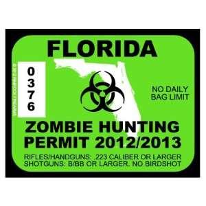 Florida Zombie Hunting Permit 2012 (Bumper Sticker)