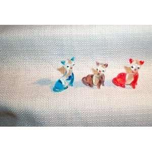 Kitty Cat MINI sized Art Glass Kitten figurines assorted colors 6 pc