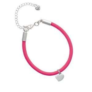 Small 2 D Silver Puffy Heart Charm on a Hot Pink Malibu Charm Bracelet