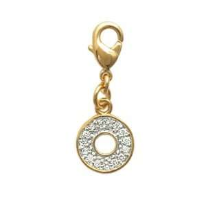 com 18K Gold Plated Pave Clear Cubic Zirconia Open Circle Disc Charm