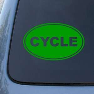 EURO OVAL   Bike   Vinyl Car Decal Sticker #1698  Vinyl Color Green
