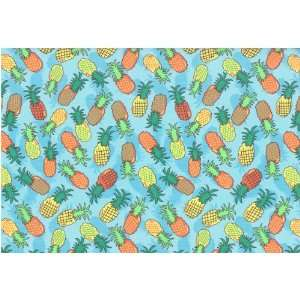 Fruit Patch Pineapple Pineapples Fruits on Blue Cotton
