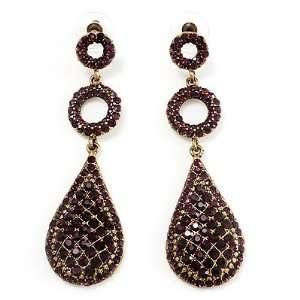 Gold Purple Swarovski Crystal Teardrop Earrings   8cm Drop Jewelry
