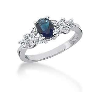 1.2 Ct Diamond Sapphire Ring Engagement Oval cut 14k White
