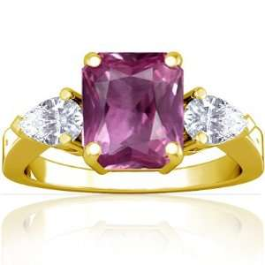 18K Yellow Gold Emerald Cut Pink Sapphire Three Stone Ring Jewelry