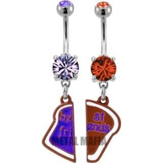 Best Friend Heart Charm Pendent Tanzanite Cubic Zirconia Belly Ring