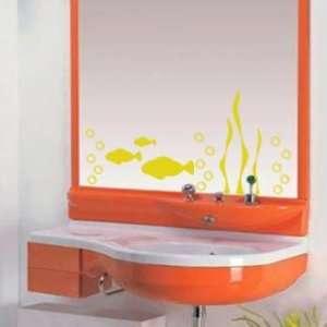 Yellow Aquarium Fish Mirror or Wall Decal