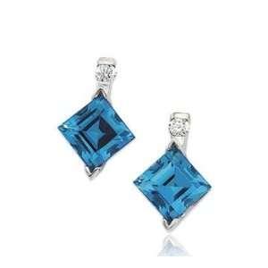 14k White Gold Swiss Blue Topaz Diamond Drop Earrings Jewelry