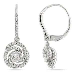 14k White Gold Diamond Drop Earrings, (.5cttw, G H Color