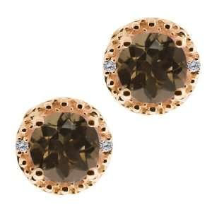 Ct Round Brown Smoky Quartz and White Diamond 14k Rose Gold Earrings