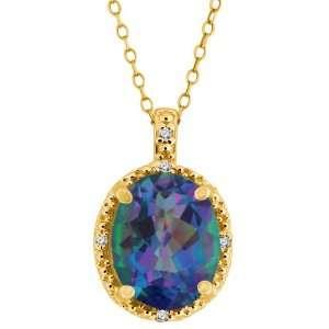 Millenium Blue Oval Mystic Quartz and Diamond 18k Yellow Gold Pendant