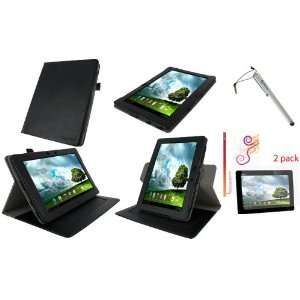 rooCASE 3n1 Dual Axis (Black) Leather Folio Case Cover