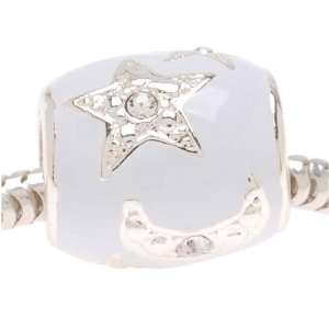 Silver Plated White Enamel With Stars And Moons Bead