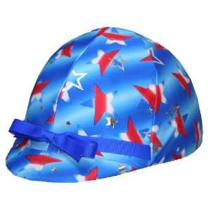 Equestrian Riding Helmet Cover   Silver and Red Stars on Blue