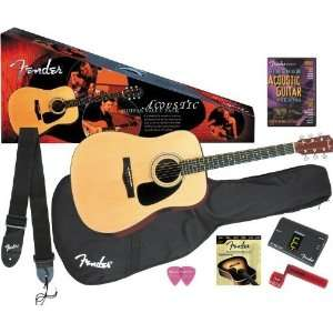 Fender DG 8S Dreadnought Acoustic Guitar Package Bundle with Levys