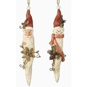 Club Pack of 12 Woodland Friends Santa & Snowman Icicle Christmas