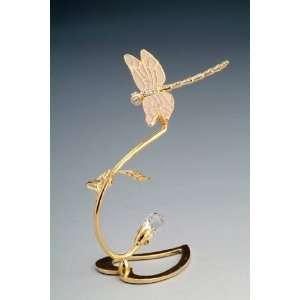 New Swarovski Crystal 24k Gold Plated Dragonfly w/ Heart