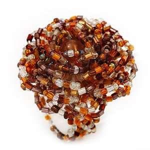 Glass Bead Flower Stretch Ring (Brown, Orange, White & Gold) Jewelry