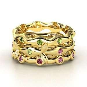 14K Yellow Gold Ring with Green Tourmaline & Rhodolite Garnet Jewelry