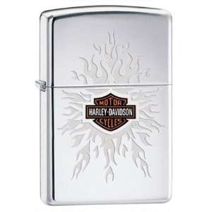 Zippo Harley Davidson Flames High Polish Chrome Lighter