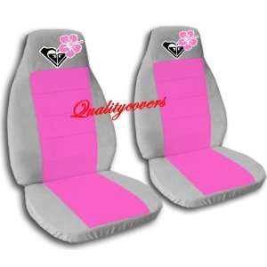 2 Silver and Hot Pink Hibiscus seat covers for a 2002 to