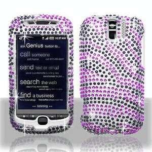 HTC myTouch 3G Slide Full Diamond Bling Purple/Black Zebra Hard Case