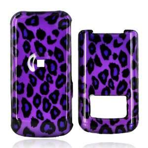 for Motorola i410 Hard Case Cover Black LEOPARD PURPLE
