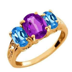 Oval Purple Amethyst and London Blue Topaz 18k Rose Gold Ring Jewelry