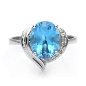 18k White Gold Oval Blue Topaz and Diamond Ring Size 6 Jewelry