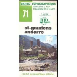 Map 71 France St Gaudens, Andorre Carte Topographique