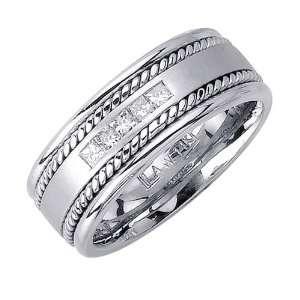 Beverly Diamonds Mens 14K WHITE GOLD DIAMOND WEDDING BAND RING