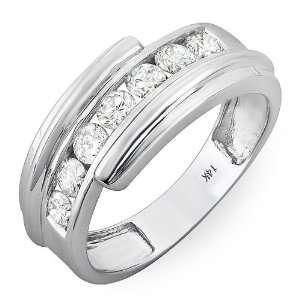14k White Gold Round Diamond Mens Anniversary Band Ring (1