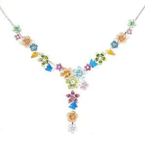 Flower and Tiny Butterfly Necklace with Multi color Swarovski Crystals