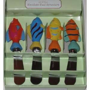Set of Four Stainless Steel Spreaders, Colorful Fish