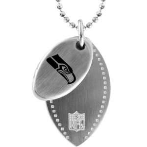 Steel NFL Seattle Seahawks Football Dog Tag Necklace 26 Jewelry
