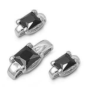 Silver & Black CZ Solitaire Square Earring & Necklace Set Jewelry