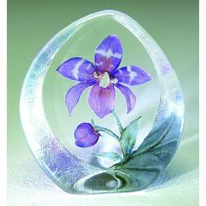 Orchid Purple Flower Etched Crystal Sculpture by Mats Jonasson