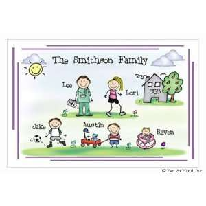 Pen At Hand Stick Figure Personalized Placemats   (Family Home