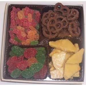 Sour Gummie Bears, Pectin Fruit Gels, Peanut Brittle, & Dark Pretzels