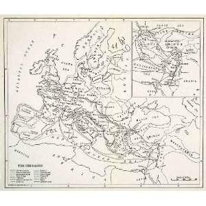 1929 Lithograph Christian Religious Crusades Europe Antique Map Philip