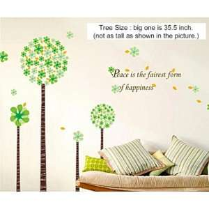Wall Decor Removable Decal Sticker  Green Cherry Blossom