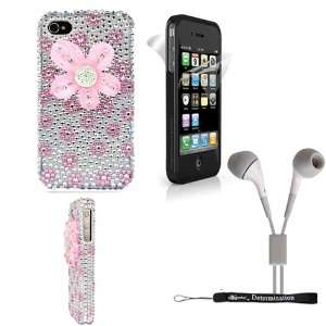Pink Flower Diamond Rhinestones 2pc Case Protective Cover