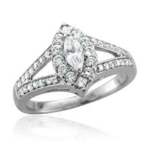 White Gold Marquise Diamond Engagement Ring Band (HI, I, 0.33 carat
