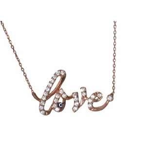 SKU Jewelry Cz Rose Gold Plated LOVE Necklace Jewelry