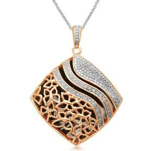 18k Rose Gold Plated Sterling Silver Pendant Necklace (1/4