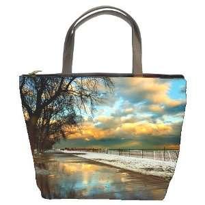New Beach Sunrise Sunset Sun Ocean Bucket Bag Leather Purse Handbag